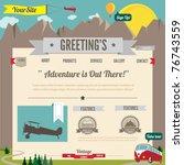 website template with cartoon... | Shutterstock .eps vector #76743559