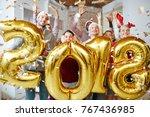 group of joyful companions... | Shutterstock . vector #767436985