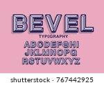 beveled typography design vector   Shutterstock .eps vector #767442925
