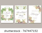 set of card with vector flower... | Shutterstock .eps vector #767447152