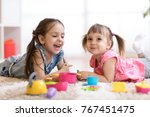cute kids children playing with ... | Shutterstock . vector #767451475