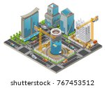 isometric under construction... | Shutterstock .eps vector #767453512