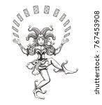 dancing joker girl juggles with ... | Shutterstock .eps vector #767453908