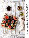 tapas or bruschetta variety.... | Shutterstock . vector #767466958