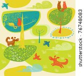 vector background with dogs and ... | Shutterstock .eps vector #76748083