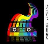 audio cassette and rainbow.... | Shutterstock .eps vector #767484712
