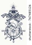skull and guns  anchor ... | Shutterstock .eps vector #767485126