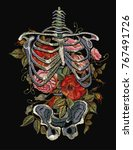 Gothic Embroidery Skeleton Rib...