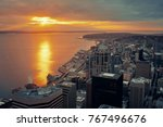 seattle sunset rooftop view... | Shutterstock . vector #767496676