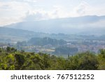 morning fog in tuscany. | Shutterstock . vector #767512252