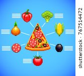 infographics with pizza slice... | Shutterstock .eps vector #767514472