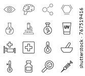 thin line icon set   eye  brain ...   Shutterstock .eps vector #767519416