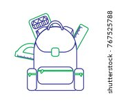 schoolbag with ruler color... | Shutterstock .eps vector #767525788