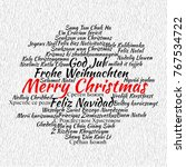 merry christmas in different... | Shutterstock . vector #767534722