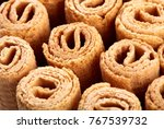 wafer rolls. sweet tube wafer... | Shutterstock . vector #767539732