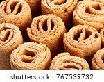wafer rolls. sweet tube wafer...   Shutterstock . vector #767539732