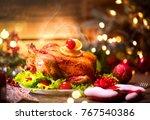 christmas dinner. roasted... | Shutterstock . vector #767540386