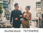 young japanese couple spending... | Shutterstock . vector #767546902