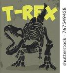cool t rex skeleton... | Shutterstock .eps vector #767549428