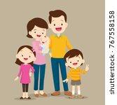 family  standing portrait.... | Shutterstock .eps vector #767558158