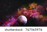 planets in galaxy with purple...   Shutterstock . vector #767565976
