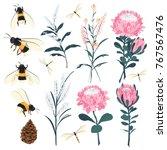 set of summer floral garden... | Shutterstock .eps vector #767567476