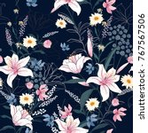 trendy  floral pattern in the... | Shutterstock .eps vector #767567506