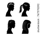 pretty girls silhouettes | Shutterstock .eps vector #767570392