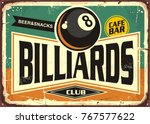 retro billiards sign design... | Shutterstock .eps vector #767577622