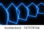 abstract neon poligonal... | Shutterstock . vector #767578768