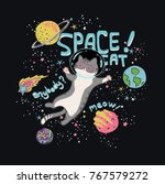 Stock vector cute space cat graphic 767579272