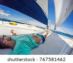 holiday selfie on sailing yacht ... | Shutterstock . vector #767581462
