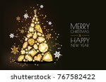 merry christmas  happy new year ... | Shutterstock .eps vector #767582422