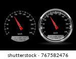 Speedometers. Round Black Gaug...