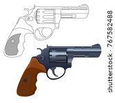 revolver gun. outline icon and... | Shutterstock .eps vector #767582488