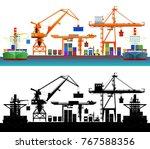 sea trade port  container ships ... | Shutterstock .eps vector #767588356
