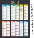 year 2018 colorful calendar  in ... | Shutterstock .eps vector #767588398