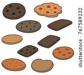 vector set of cookies and... | Shutterstock .eps vector #767589232