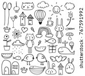 hand drawn doodle lovely vector ... | Shutterstock .eps vector #767591992