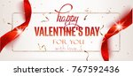 valentines day banner with red...   Shutterstock .eps vector #767592436