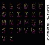 modern linear uppercase latin... | Shutterstock .eps vector #767598496