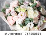 beautiful bouquet of mixed... | Shutterstock . vector #767600896