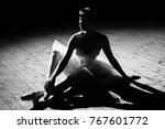 young beautiful ballerina... | Shutterstock . vector #767601772