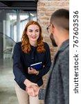 bright woman meeting her...   Shutterstock . vector #767603536