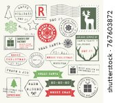 christmas rubber stamp... | Shutterstock .eps vector #767603872