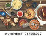 traditional italian food. pasta ... | Shutterstock . vector #767606032
