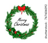 christmas wreath with red bow... | Shutterstock .eps vector #767606092