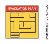 evacuation plan color icon.... | Shutterstock .eps vector #767607622