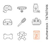 pets supplies linear icons set. ...   Shutterstock .eps vector #767607646