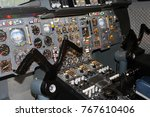Small photo of Airplane Pilot's Cockpit with Control Panels